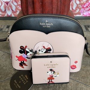kate spade NY minnie mouse dome  BIFOLD L-Zip Wllt